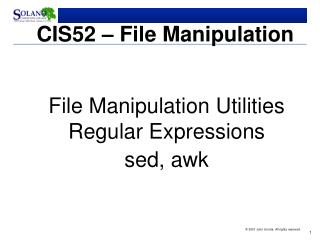 CIS52 – File Manipulation