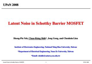 Latent Noise in Schottky Barrier MOSFET