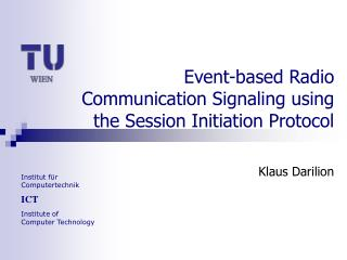 Event-based Radio Communication Signaling using the Session Initiation Protocol