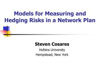 Models for Measuring and Hedging Risks in a Network Plan