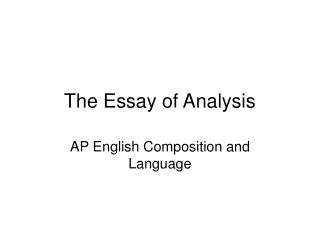 The Essay of Analysis
