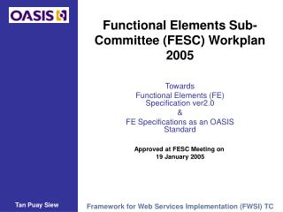 Functional Elements Sub-Committee (FESC) Workplan 2005
