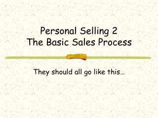 Personal Selling 2 The Basic Sales Process