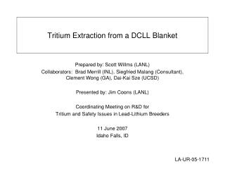 Tritium Extraction from a DCLL Blanket