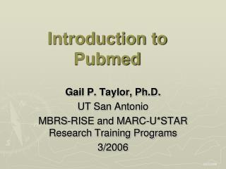 Introduction to Pubmed