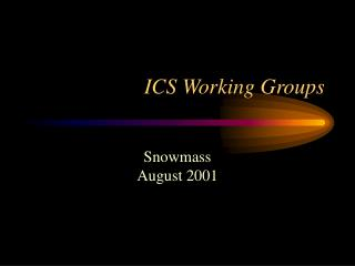ICS Working Groups