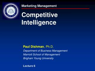 Marketing Management Competitive Intelligence