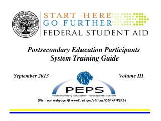 Postsecondary Education Participants System Training Guide September 2013