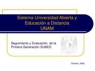 Sistema Universidad Abierta y  Educación a Distancia  UNAM