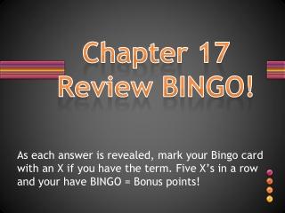 Chapter 17 Review BINGO!