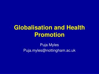 Globalisation and Health Promotion