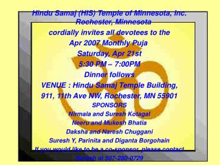 Hindu Samaj (HIS) Temple of Minnesota, Inc. Rochester, Minnesota