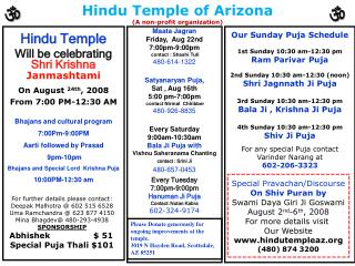 Hindu Temple of Arizona (A non-profit organization)