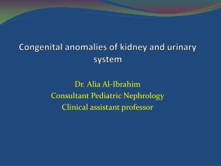 Congenital anomalies of kidney and urinary system