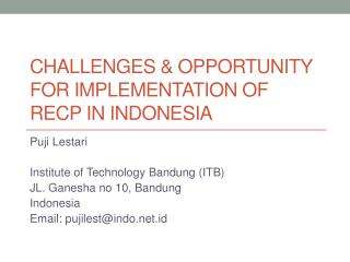 Challenges & Opportunity for Implementation of RECP in Indonesia