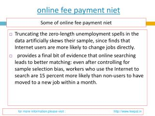 Latest point about online fee payment niet