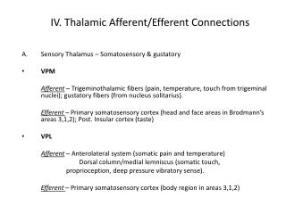 IV. Thalamic Afferent/Efferent Connections
