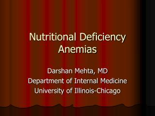 Nutritional Deficiency Anemias