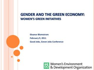 GENDER AND THE GREEN ECONOMY:  WOMEN'S GREEN INITIATIVES