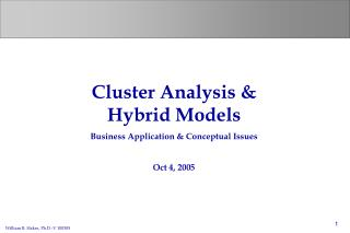 Cluster Analysis & Hybrid Models Business Application & Conceptual Issues Oct 4, 2005