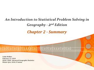 An Introduction to Statistical Problem Solving in Geography -  2 nd  Edition