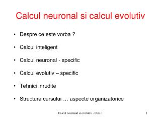 Calcul neuronal si calcul evolutiv