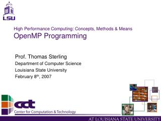 High Performance Computing: Concepts, Methods & Means OpenMP Programming