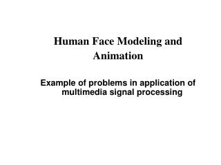 Human Face Modeling and  Animation  Example of problems in application of multimedia signal processing