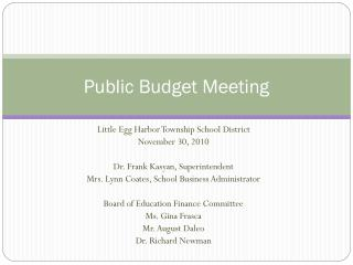 Public Budget Meeting