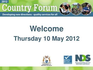 Welcome Thursday 10 May 2012