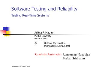 Software Testing and Reliability Testing Real-Time Systems