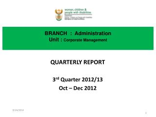 BRANCH  :  Administration Unit :  Corporate Management