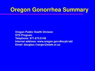 Oregon Gonorrhea Summary