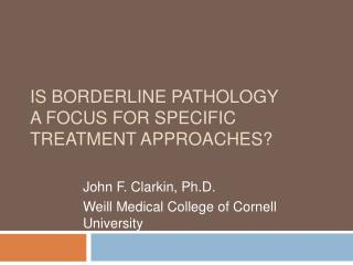 Is BORDERLINE PATHOLOGY  a FOCUS FOR SPECIFIC  TREATMENT APPROACHES