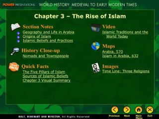 Chapter 3 – The Rise of Islam