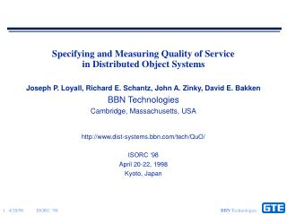 Specifying and Measuring Quality of Service in Distributed Object Systems