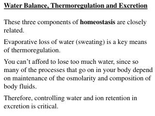 Water Balance, Thermoregulation and Excretion