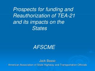 Jack Basso American Association of State Highway and Transportation Officials