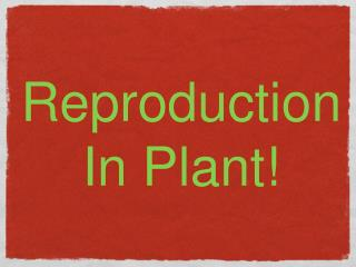 Reproduction In Plant!