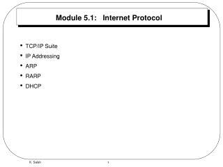 Module 5.1:   Internet Protocol