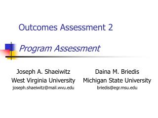 Outcomes Assessment 2 Program Assessment