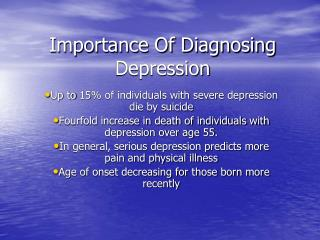 Importance Of Diagnosing Depression