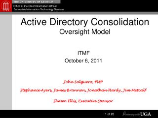 Active Directory Consolidation Oversight Model