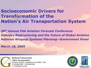 Socioeconomic Drivers for Transformation of the Nation's Air Transportation System