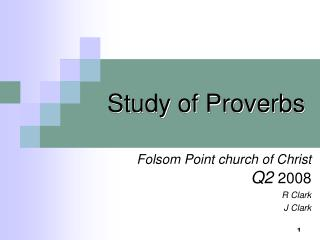 Study of Proverbs