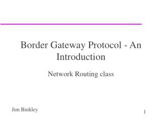 Border Gateway Protocol - An Introduction