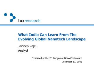 What India Can Learn From The Evolving Global Nanotech Landscape