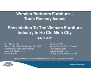 Wooden Bedroom Furniture    Trade Remedy Issues  Presentation To The Vietnam Furniture Industry In Ho Chi Minh City July