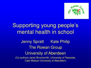 Supporting young people's mental health in school