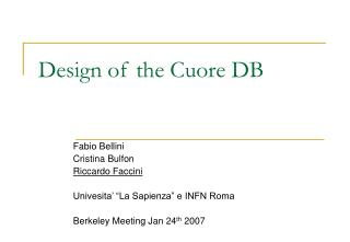 Design of the Cuore DB
